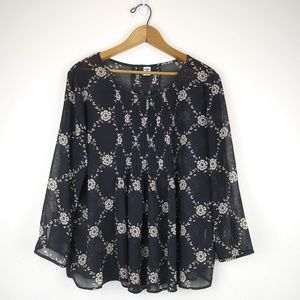 Old Navy Sheer Black/Taupe Blouse w/3/4 Sleeves L